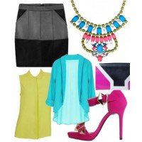 Bright spark: Neon adds a playful punch to the sexiness of a black leather skirt.