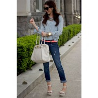 Break up double denim with accessories like this cute neon belt. Source www.thepinkpeonies.com
