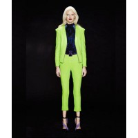 Magdalena Velevska, lime green pants and blazer set. www.magdalenavelevska.com