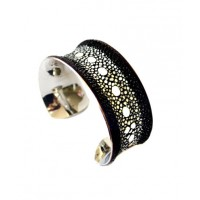 Black Multiple Spine Stingray Leather Bangle Bracelet - by UNEARTHED, http://www.etsy.com/listing/93060567/black-multiple-spine-stingray-leather