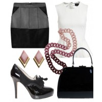 Lady-like luxe: Soften the bold silhouette of a leather skirt with pastels, ruffles and other flirty detailing.