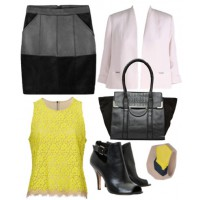 9 to 5: Sharp tailoring and neutral tones ensure you can work a leather skirt at the office.