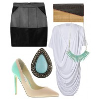 Laidback lounge: Take the edge off a black leather skirt with soft lines and flowing forms. This relaxed yet sophisticated look is perfect when heading out for dinner and drinks.