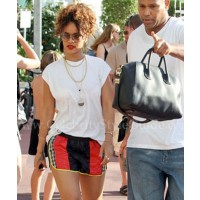 Shorts: Alexander Wang Starter Shorts (AU$325); Sandals: Chloe by Alexander Wang(AU$525); Bag: Antigona Duffel by Givenchy (AU$2,2445) (photosource:http://www.celebritystyleguide.com/i-1-1-12317/celebrities/rihanna/alexander-wang-starter-shorts)