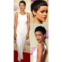 With new cropped 'do and dressed in a white knotted Adam Selman dress (photo source: http://stylefrizz.com/201209/rihannas-new-hair-and-white-dress-at-vmas-2012/)