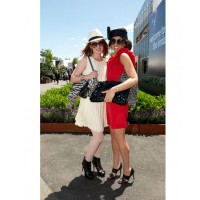 Ilana Moses and Georgia Danos at Derby Day 2011. Moses (left) is wearing Rag and Bone dress and Fedora. Danos is wearing red sheath dress with ruffle sleeve by Bensoni. Source: Georgia Danos