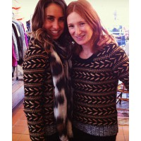 Georgia Danos (left) and Ilana Moses, both wearing Rag and Bone metallic knit. Source: Georgia Danos