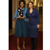 Michelle Obama in Junya Watanabe. Image source: http://www.huffingtonpost.com/2009/04/02/michelle-obamas-royal-ope_n_182255.html