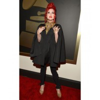 Not sure about the hair, but the rest of this look is great on Cyndi Lauper (in Alexander McQueen and Jimmy Choo). Image via http://www.huffingtonpost.com/2014/01/26/grammys-red-carpet-2014-photos_n_4628162.html