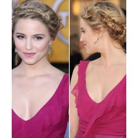 Dianna Agron's fishtail braid. Image via http://www.teen.com/2012/01/31/style/celebrity-hair/braided-headbands-celebrity-hair-how-to-sag-awards/