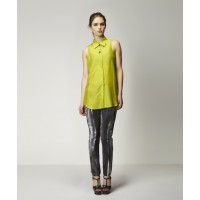Eden Silk Shirt & Valentin Bralet in Chartreuse with Argon Silk Pant in Scorched Print