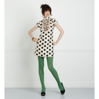 Transform a plain outift with funky green tights. Image source http://www.thecampuscompanion.com/svelte/2013/04/18/splash-of-color-how-to-pull-off-colored-tights/green-tights/