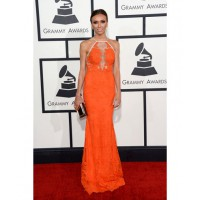 Giuliana Rancic in burnt orange. Image via http://www.huffingtonpost.com/2014/01/26/grammys-red-carpet-2014-photos_n_4628162.html
