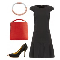 An outfit of the classics (black dress, red tote, black pump - is a good base to which you can add a patterned blazer or other stand out piece.