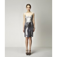 Inese Silk Bustier in Ice with Cylinder Silk Skirt in Scorched Print