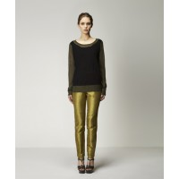 Ivanna Sweater in Black w Chartreuse & Andra Pant in Chartreuse