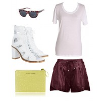 Spring leather look with simple white tee, leather booties, shorts and clutch. Individual items to follow...