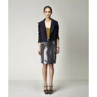 Maris Silk Biker Jacket in Eclipse & Valentin Bodysuit in Chartreuse with Cylinder Silk Skirt in Scorched Print