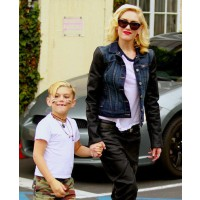 Gwen Stefani rocks a denim/leather blend jacket out with Kingston. source: contactmusic.com credit: contact music http://www.contactmusic.com/photo/kingston-rossdale-gwen-stefani-gwen-stefani-with-son_3479850