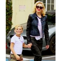 Gwen Stefani rocks a denim/leather blend jacket out with Kingston. source: contactmusic.com credit: contact music http://www.contactmusic.com/photo/kingston-rossdale-gwen-stefani-gwen-stefani-with-son_3479850