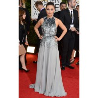 Mila Kunis in Gucci, Marina B and Gemfields http://www.huffingtonpost.com/2014/01/12/golden-globes-red-carpet-2014_n_4499470.html