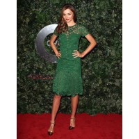Miranda rocks an emerald lace dress by Burberry Prosum via http://www.buzzfeed.com/