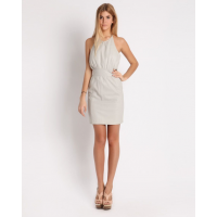 Ctrl You Ice grey halter dress Leather, Was $1110 Now $229