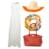 Outfit 2: Team a neutral maxi with a colourful scarf, floppy hat and look-at-me tote and you're ready to shop, party or play in comfort and style.
