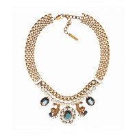 Baroque-inspired fashion is unashamedly flashy. Think lots of gold, oversized gems and elaborate detailing, like scrolls and floral motifs. Peter Lang Dulcie Baroque Sapphire Crystal Necklace, $274. http://www.peterlang.com.au/shop/item/dulcie-baroque-sap