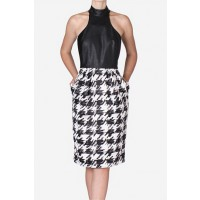 Carla Zampatti Parisian Check & Faux Leather T-Bar Dress, $599. http://www.carlazampatti.com.au/Shop/Shop_Garments/Short_Dresses/147140.902050/Parisian-Check-And-Faux-Leather-T-Bar-Dress.html