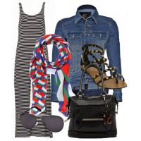 Brighten up a monochrome ensemble with a colourful scarf. Add a denim jacket for a cool, casual vibe.