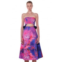 by johnny. Oil Art Bustier and Wide Line Skirt, $180 and $260. http://byjohnny.bigcartel.com/product/oil-art-bustier