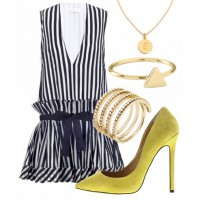 Look 1: Monochrome stripes.