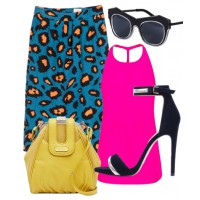 Bright and bold: Let a statement skirt take centre stage by pairing it with a block-colour top and simple accessories.