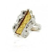 Rachael Ruddick Ziggy Ring in Silver with Gold Foiled Watersnake Centre, $96. http://rachaelruddick.com/index.php/jewels/ziggy-ring-198.html