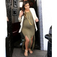 Throw on a blazer. Source: Hayk/Splash News via US Magazine. http://www.usmagazine.com/celebrity-style/news/kim-kardashian-shows-off-big-baby-bump-in-clingy-olive-green-dress-picture-2013136