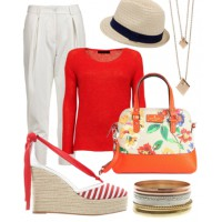 A preppy palette of red and white, teamed with stripes and a straw hat, are perfect for a beachside vacay.