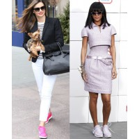 Miranda Kerr and Rihanna are just two celebs who've tried (and aced!) the sneaker trend. Source (l-r): Shape.com. http://www.shape.com/blogs/fit-famous/miranda-kerr-glams-it-reebok News Pictures/FameFlynet Pictures via InStyle. http://news.instyle.com/201