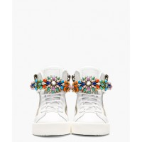 Giuseppe Zanotti White Jewel-Embellished High-Top Sneakers from SSENSE, USD$1695. http://www.ssense.com/women/product/giuseppe_zanotti/white_jewel-embellished_high-top_sneakers/97294?utm_source=2687457&utm_medium=affiliate&utm_campaign=generic&utm_term=10