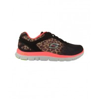 Sketchers Flex Appeal Serengeti Shoes in Black/Hot Pink, $99.95. Contact: 1800 655 154.