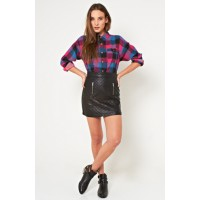 14. Snag: Plaid and checks. MINKPINK Raylene Dip Dye Shirt, $79; and Raunchy Quilted PU Mini Skirt, $69. http://shopmarkethq.com/products/raunchy-quilted-pu-mini-skirt