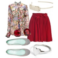 Dinner party perfect: Pair an Oxford-style shirt with a flippy spring skirt for a look that's dressy but cute, too.