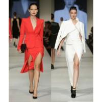 Dramatic tailoring (l-r): Yeojin Bae, Runway 6 Presented by Harper's BAZAAR. Arthur Galan, Runway 6 Presented by Harper's BAZAAR. Images: Lucas Dawson Photography.