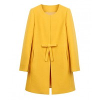 Sheinside Yellow Bow-Knot Front H-Line Simple Wool Blend Coat, $46.62 http://www.sheinside.com/Yellow-Bowknot-Front-H-line-Simple-Wool-Blend-Coat-p-147010-cat-1735.html