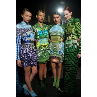 Backstage at Mary Katrantzou, LMFF David Jones Opening Event runway. Credit: Lucas Dawson Photography.