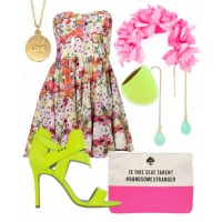 2) Pretty playful: Flirty florals and neon combine to create fun, fresh look for an evening V-Day date.