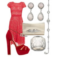 4) Rosy romance: Add a playful edge to a sweet lace dress, with statement heels and a sassy clutch.