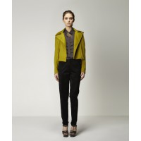Regina Biker Jacket in Chartreuse, Nikola Blouse in Charcoal with Luka Trouser in Black