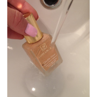 Thin out liquid foundation by running it under a hot tap.