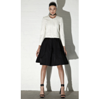 Perforated Faux Leather Jacket, $739; Oynx Taffeta Circle Skirt, Carla Zampatti, $449 http://www.carlazampatti.com.au/Collections/Spring%7CSummer_2013.htm